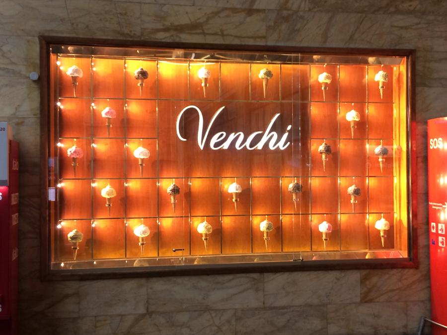 Venchi ice cream advertising, Florence train station,Italy
